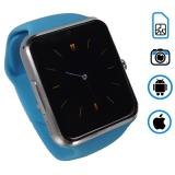 Q7 умные часы телефон (поддержка iphone и android) голубые