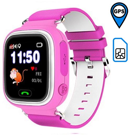 Q90 детские часы с GPS-трекером ОРИГИНАЛ (розовые)