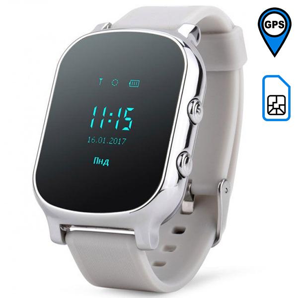 Детские GPS часы Smart Baby Watch T58 серебряные